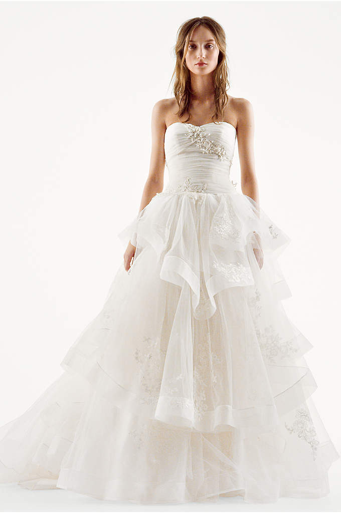 White by Vera Wang Strapless Tulle Wedding Dress - White by Vera Wang's breathtaking ball gown will