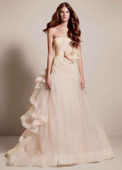 White by Vera Wang Tricolored Draped Wedding Dress VW351199