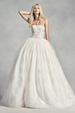 White by Vera Wang Tulle Beaded Lace Wedding Dress Davids Bridal