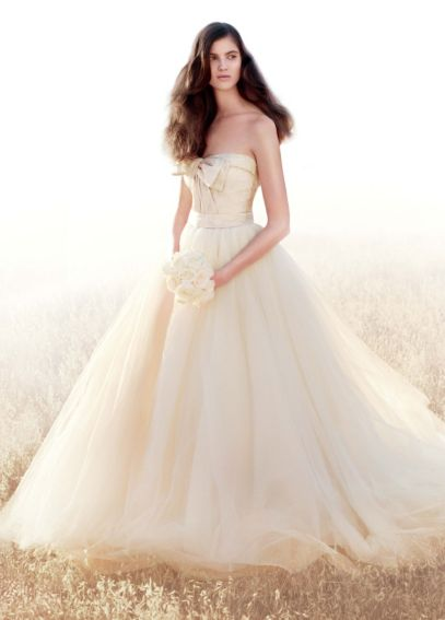 White by Vera Wang Matelasse Floral Wedding Dress VW351213