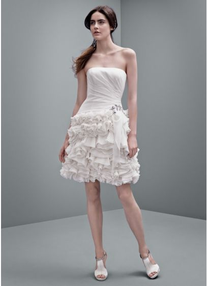 Short A-Line Country Wedding Dress - White by Vera Wang