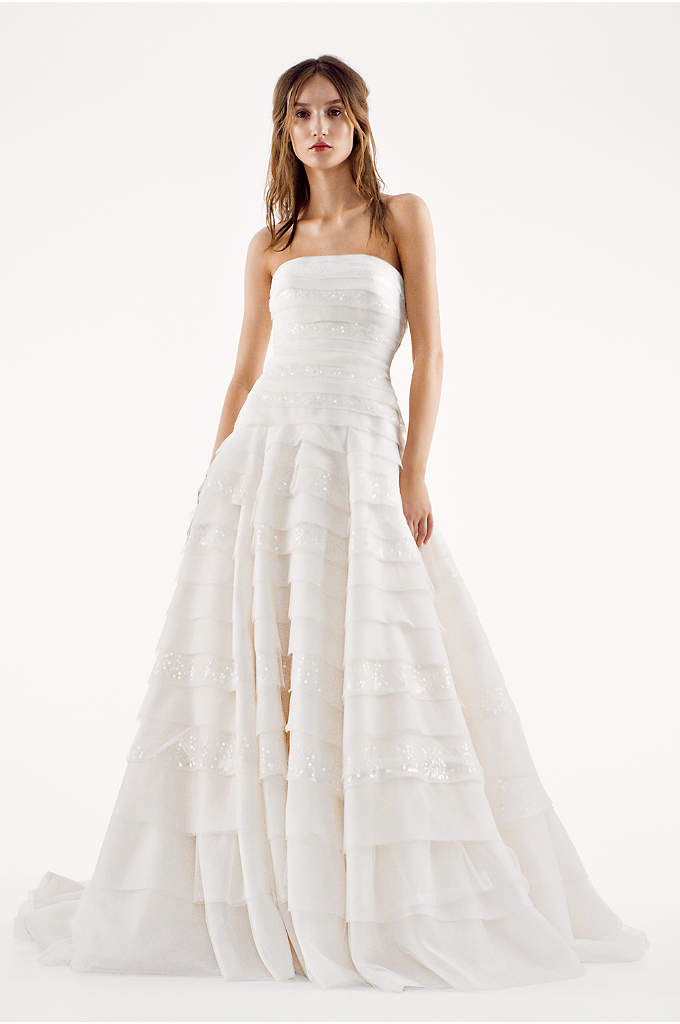 White by Vera Wang A-line Drop Waist Wedding - This breathtaking organza wedding dress is sure to