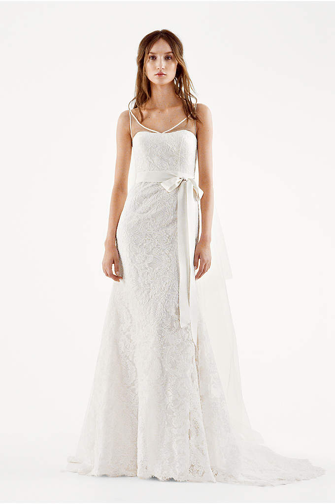 White by Vera Wang Illusion Tank Wedding Dress - Romantic and ultra-feminine, this all over lace mermaid