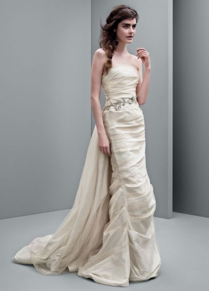 White by Vera Wang Taffeta Column Wedding Dress VW351231