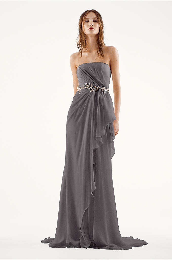 White by Vera Wang Strapless Chiffon Wedding Dress - This ethereal crinkle chiffon column gown with asymmetrical