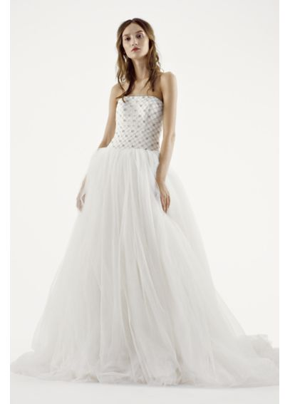 White by Vera Wang Tulle and Lattice Wedding Dress VW351236