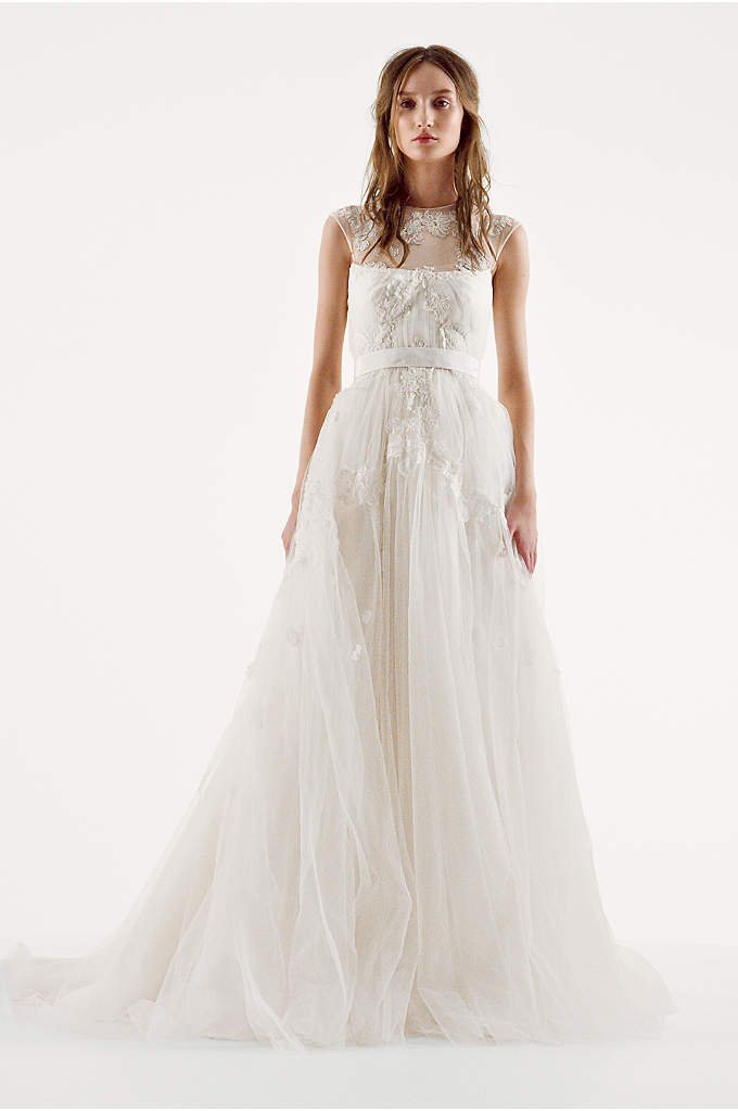 White by Vera Wang Illusion Neckline Wedding Dress - You will love this sophisticated spin on a