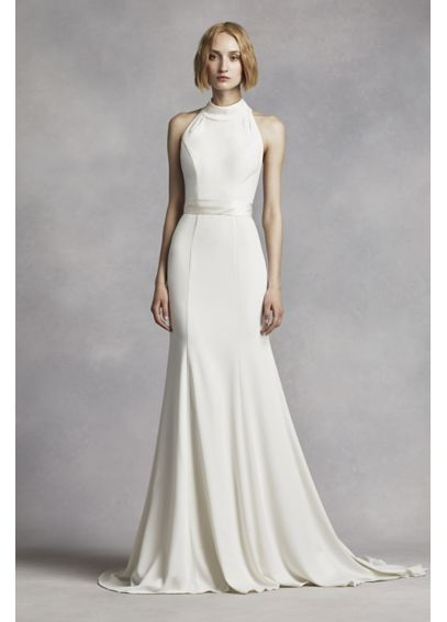 White by vera wang high neck halter wedding dress davids for Around the neck wedding dresses