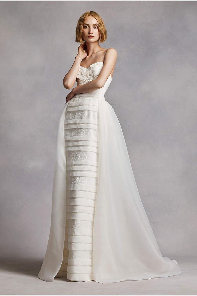 White by vera wang pleated v neck wedding dress david 39 s for Vera wang v neck wedding dress