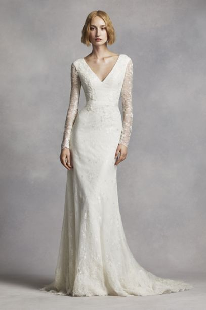 White by Vera Wang Long Sleeve Lace Wedding Dress | David's Bridal