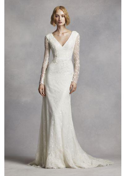 White by vera wang long sleeve lace wedding dress davids for Long sleeve casual wedding dresses