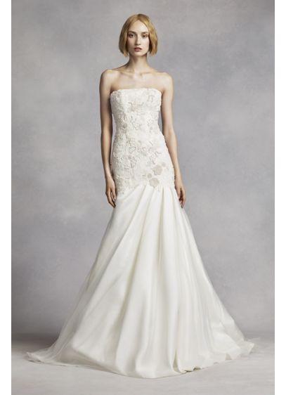 White by vera wang lace mermaid wedding dress davids bridal for Vera wang mermaid wedding dresses