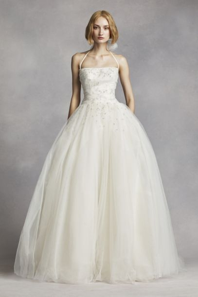 White By Vera Wang Tulle Halter Wedding Dress Davids Bridal