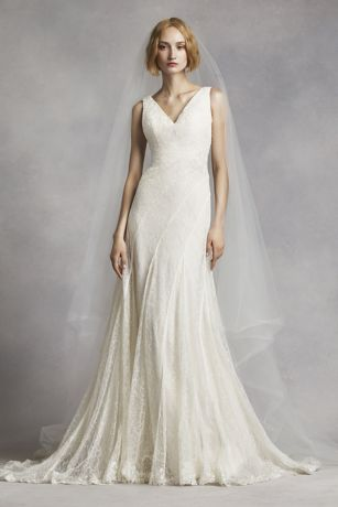 White by vera wang v neck and lace wedding dress david 39 s for Vera wang tea length wedding dress