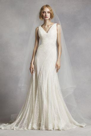White V-Neck Wedding Dress