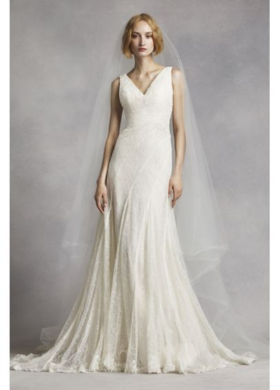 White By Vera Wang V Neck And Lace Wedding Dress Davids