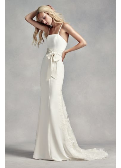 White by vera wang spaghetti strap wedding dress david 39 s for Average price of vera wang wedding dress
