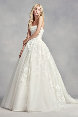 White by Vera Wang Strapless Tulle Wedding Dress Davids Bridal