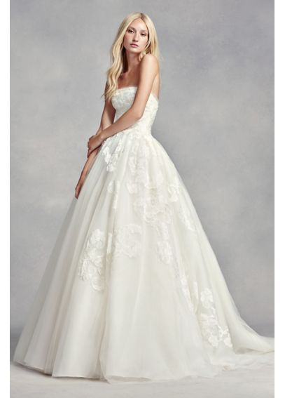 White by vera wang strapless tulle wedding dress davids for David s bridal tulle wedding dress