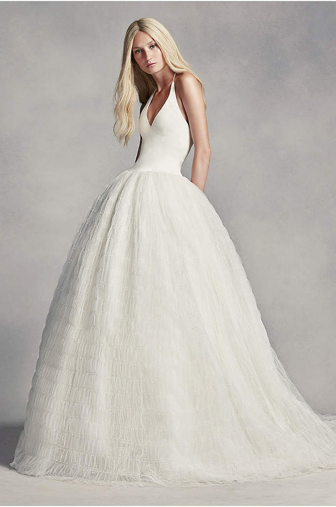 White by Vera Wang Halter Tulle Wedding Dress - Be a modern day princess in this satin