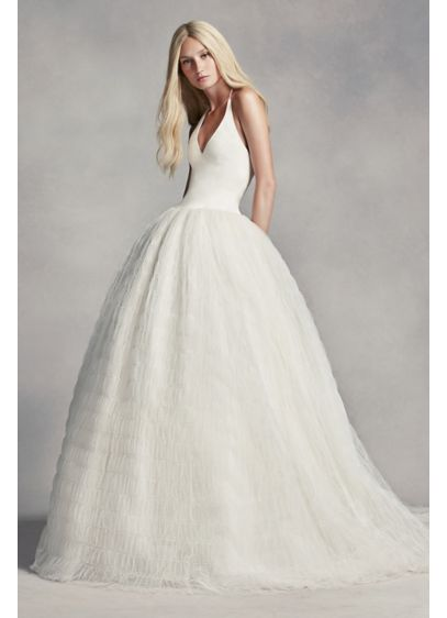 White by vera wang halter tulle wedding dress david 39 s bridal for Average price of vera wang wedding dress