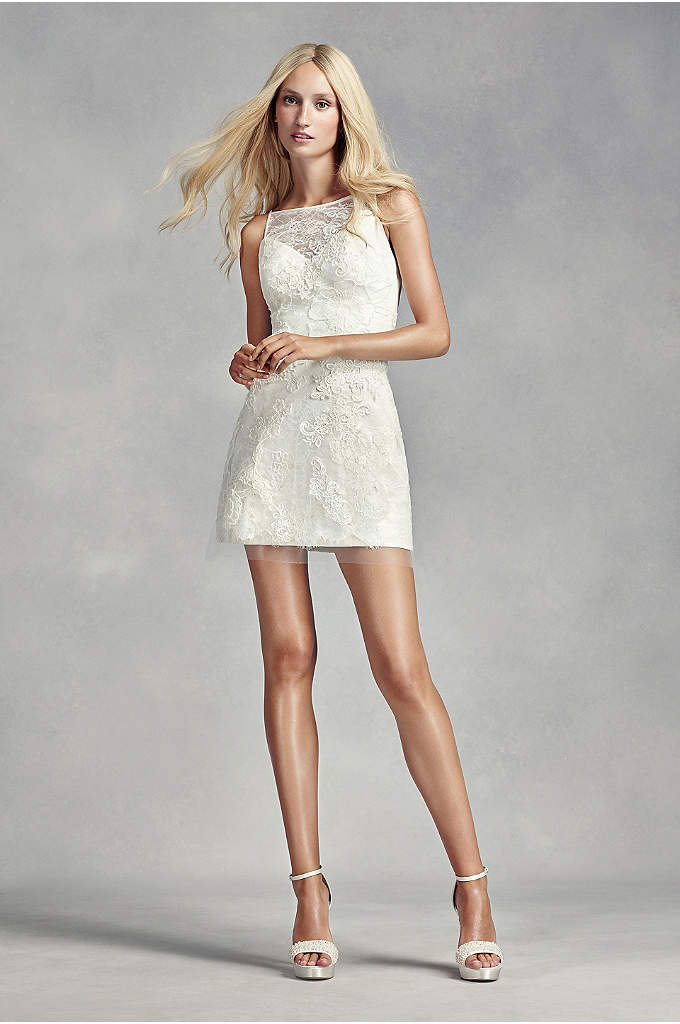 White by Vera Wang Short Lace Wedding Dress - This shimmering short shift features an A-line skirt