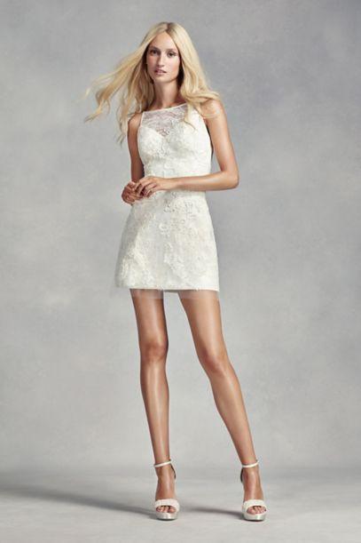 Short white lace wedding dress