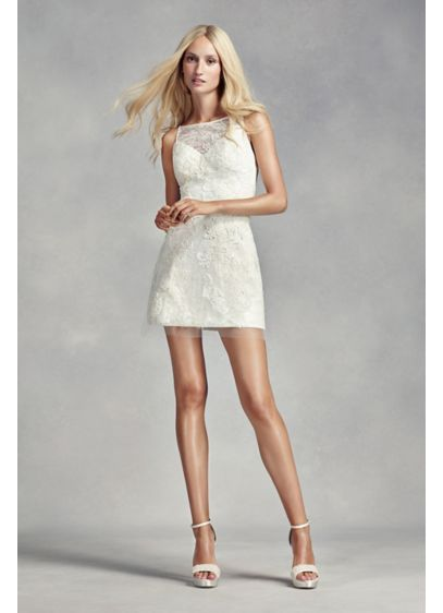Short Sheath Modern Chic Wedding Dress - White by Vera Wang