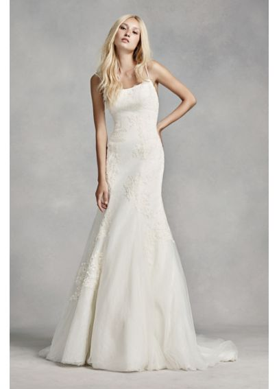 White by vera wang spaghetti strap wedding dress davids for Spaghetti strap wedding dress