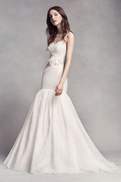 White By Vera Wang Organza Mermaid Wedding Dress David S