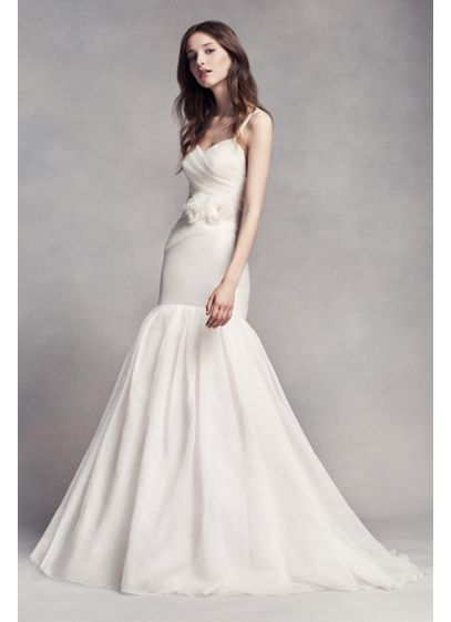 White by vera wang organza mermaid wedding dress david 39 s for Average price of vera wang wedding dress