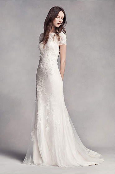White by Vera Wang Short Sleeve Lace Wedding Dress