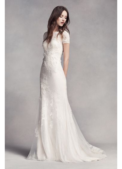 White by vera wang short sleeve lace wedding dress davids bridal long sheath romantic wedding dress white by vera wang junglespirit Image collections