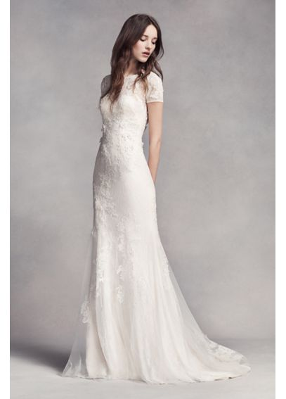 White by Vera Wang Short Sleeve Lace Wedding Dress ...