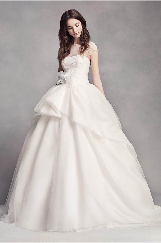 White by Vera Wang Lace Illusion Wedding Dress - A romantic look with unique touches. An organic