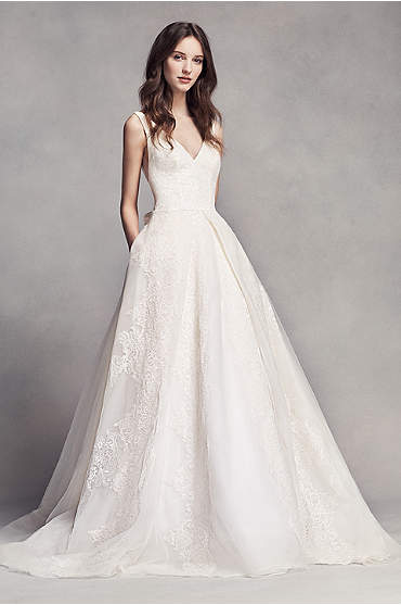 White by Vera Wang Pleated V-Neck Wedding Dress