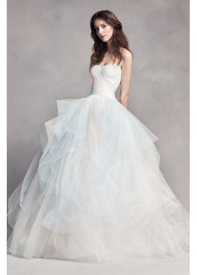 White by vera wang ombre tulle wedding dress davids bridal for White by vera wang wedding dresses