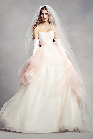 Pink wedding dresses gowns davids bridal long ballgown modern chic wedding dress white by vera wang junglespirit Image collections