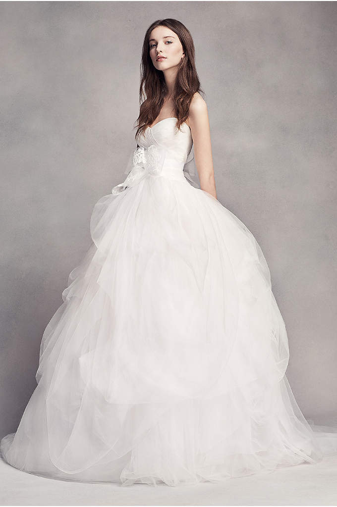 White by Vera Wang Hand-Draped Tulle Wedding Dress - Dramatic yet romantic, this sweetheart ball gown's crisscross
