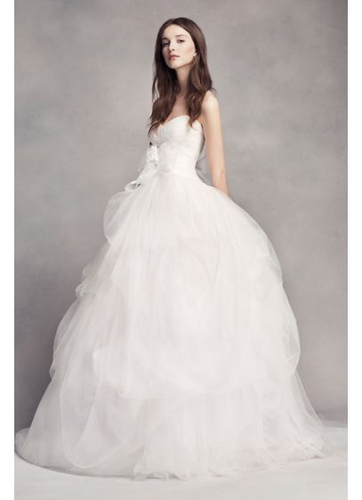 White by vera wang hand draped tulle wedding dress david for White vera wang wedding dresses