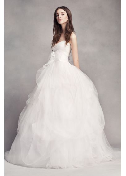 White by Vera Wang Hand-Draped Tulle Wedding Dress VW351339