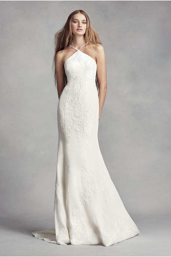 White by vera wang twill gazar lace wedding dress david for Best vera wang wedding dresses