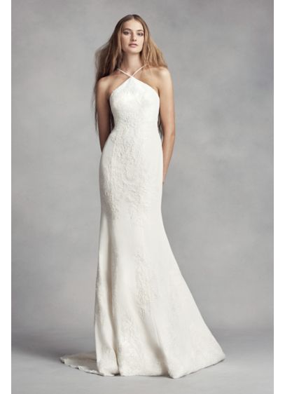 Long Sheath Beach Wedding Dress - White by Vera Wang
