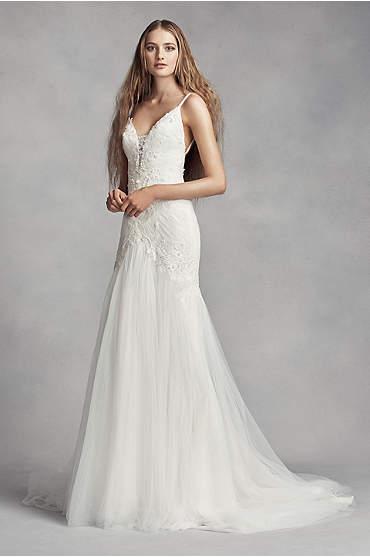 White by Vera Wang Plunging Sheath Wedding Dress