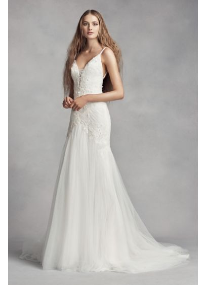 White by Vera Wang Plunging Sheath Wedding Dress | David's Bridal