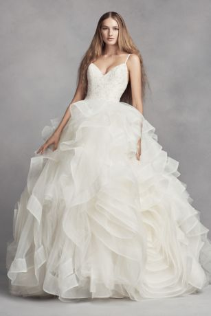 White by vera wang organza rosette wedding dress david 39 s for Price of vera wang wedding dress