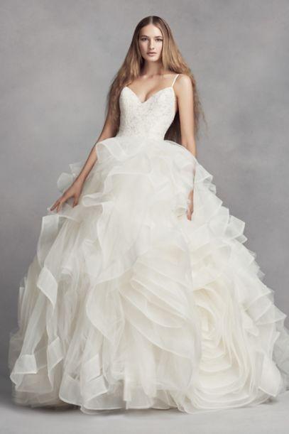 White by Vera Wang Organza Rosette Wedding Dress - Davids Bridal