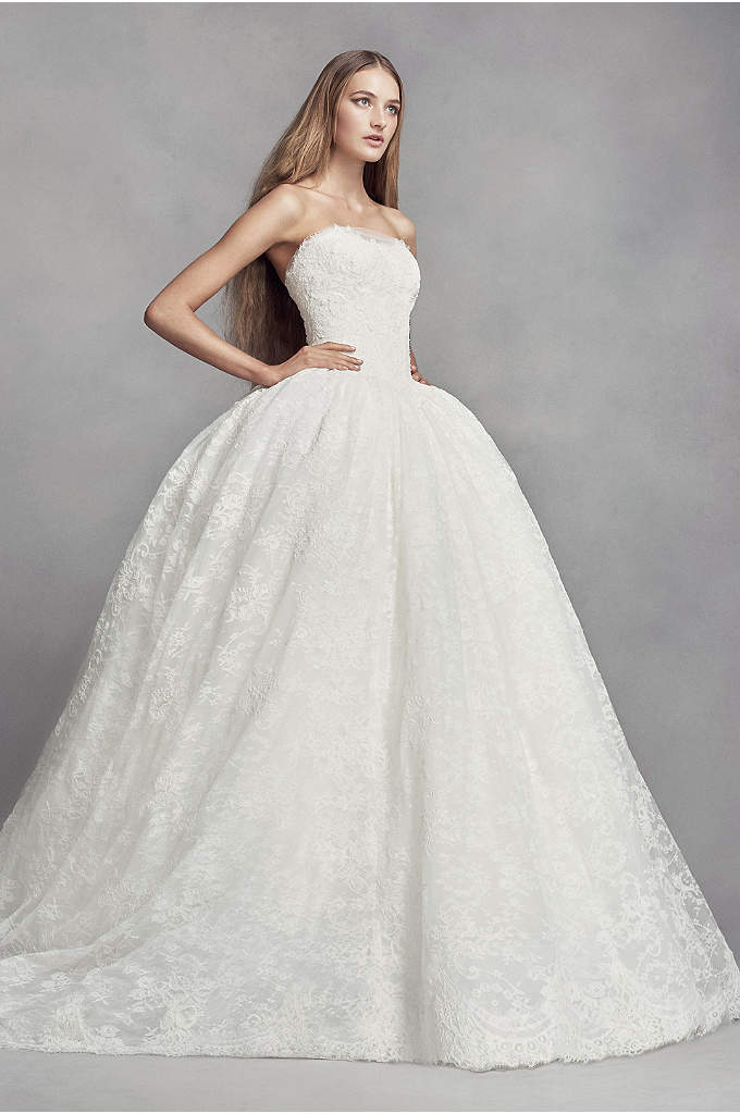 Lace wedding dress with embroidered details davids bridal for Price of vera wang wedding dress