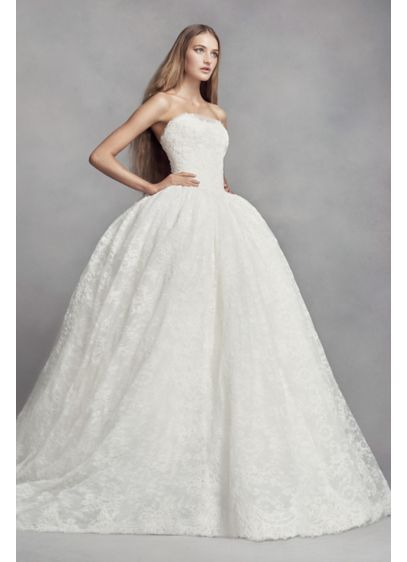Long Ballgown Vintage Wedding Dress - White by Vera Wang