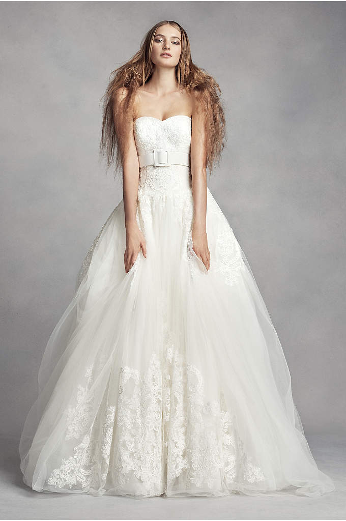 White by Vera Wang Lace Ball Gown Wedding - The arched lace appliques on this strapless White